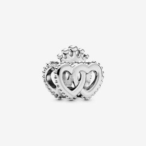 Pandora  Crown and Intertwined Hearts Charm
